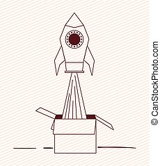 doosje, start, karton, op, raket