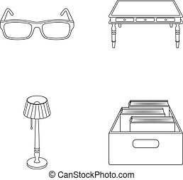 doosje, stijl, set, schets, vloer, houten, bril, symbool, lamp, web., bibliotheek, boekhandel, vector, illustratie, verzameling, iconen, books., tafel, liggen