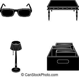 doosje, stijl, set, vloer, houten, bril, symbool, lamp, web., bibliotheek, boekhandel, black , illustratie, verzameling, iconen, vector, books., tafel, liggen