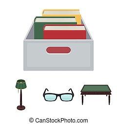doosje, stijl, set, vloer, houten, bril, symbool, lamp, web., bibliotheek, boekhandel, vector, illustratie, verzameling, iconen, books., spotprent, tafel, liggen