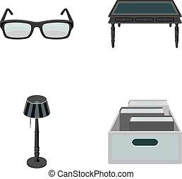 doosje, stijl, set, vloer, houten, bril, symbool, lamp, web., bibliotheek, iconen, boekhandel, vector, illustratie, verzameling, monochroom, books., tafel, liggen
