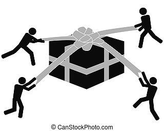 doosje, symbool, mensen, cadeau, uitpakken
