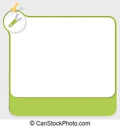 doosje, tekst, moersleutel, groene, pushpin