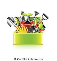 doosje, tuin, vrijstaand, vector, witte , gereedschap