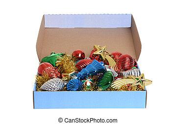 doosje, van, antieke , kerstballen