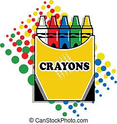 doosje, van, crayons
