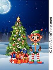 doosje, vasthouden, cadeau, elf, achtergrond, kerstmis
