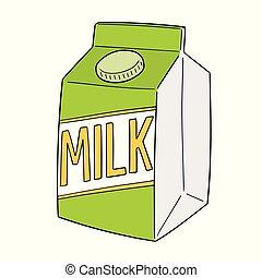 doosje, vector, melk