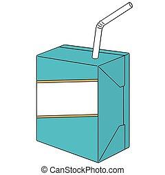 doosje, vector, set, melk