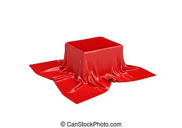 doosje, verbergen, vrijstaand, vertolking, waarschijnlijk, achtergrond, 3d, witte , stuk, satijn, rode kleren
