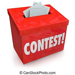 doosje, verloting, prijs, vorm, wedstrijd, winnen, ...