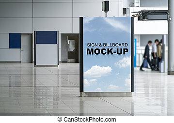 doosje, verticaal, licht, binnen, op, luchthaven, stander, buitenreclame, spotten, reclame
