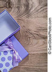 doosje, vieringen, purper bovenst, houten, concept, plank, kado, aanzicht