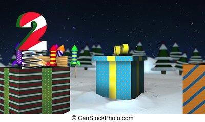 doosje, vlieg, kleurrijke, vorm, zij, bereiken, op, vuurwerk, hemel, sneeuw, op, aftellen, dozen, raketten, getallen, sterretjes, vering, cadeau, komen, tot, uit