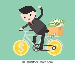 doosje, volle, fiets, pakket, zakelijk, aanbod, geld, mensen, dollar, paardrijden, komen, hem, man