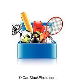 doosje, voorwerpen, vrijstaand, vector, witte , sportende