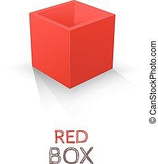 doosje, vrijstaand, achtergrond., vector, wit rood