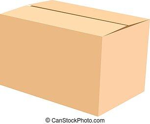 doosje, vrijstaand, illustratie, vector, witte , karton