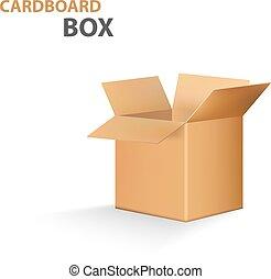 doosje, vrijstaand, vector, achtergrond, witte , karton