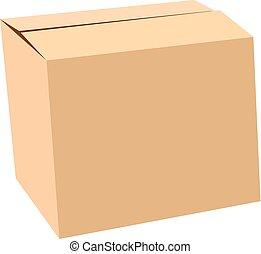 doosje, vrijstaand, vector, verzegeld, witte , karton