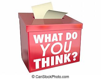 doosje, wat, aandeel, illustratie, mening, u, denken, gedachten, 3d
