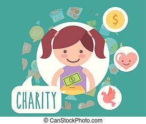 doosje, weinig; niet zo(veel), liefde, geld, meisje, karton, liefdadigheid