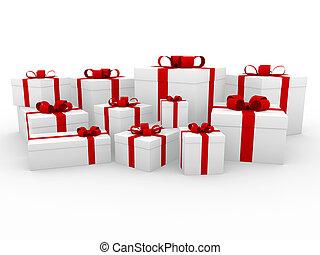 doosje, wit rood, cadeau, 3d
