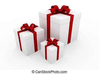 doosje, witte , cadeau, rood, 3d