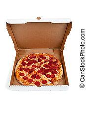 doosje, witte , pepperoni pizza