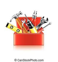 doosje, witte , vector, gereedschap, vrijstaand