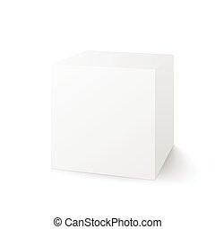 doosje, witte , vector, vrijstaand, achtergrond