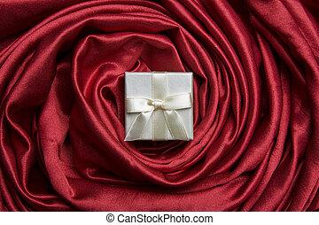 doosje, witte , zijde, rood, cadeau