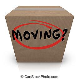 doosje, woord, helpen, steun, verhuizing, plaats, het...