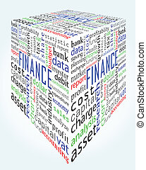 doosje, woorden, boekhouding, financiën