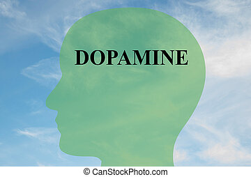 Dopamine concept - Render illustration of Dopamine title on...