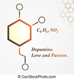 Dopamine molecule. Love and passion concept. Vector...