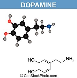 Dopamine molecule model illustration design