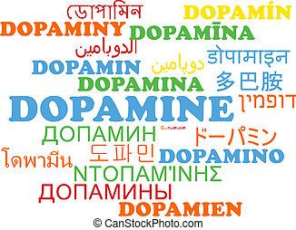 Dopamine multilanguage wordcloud background concept