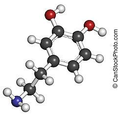 Dopamine neurotransmitter molecule. Catecholamine class...