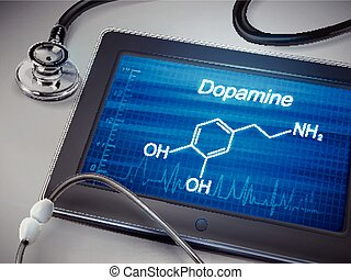 dopamine word display on tablet over table