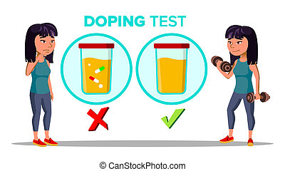 Doping, Drug Test Cartoon Banner Template