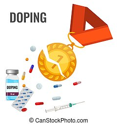 Doping drugs anti-agitative banner with broken gold metal, ...