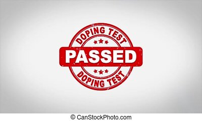 DOPING TEST Passed Signed Stamping Text Wooden Stamp Animation. Red Ink on Clean White Paper Surface Background with Green matte Background Included.