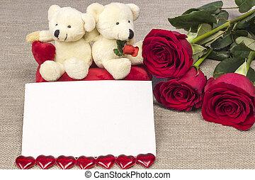 dopisnice, dále, znejmilejší den, s, růže, a, hračka