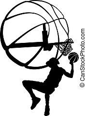 doppa, bak, basketboll, silhuett, huvud