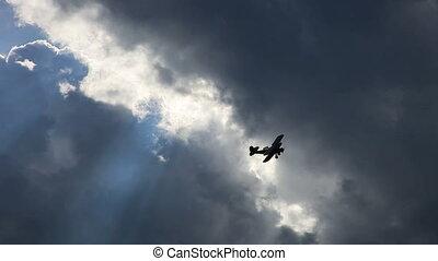 doppeldecker, motorflugzeug, altes