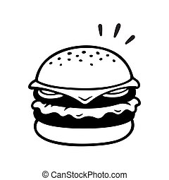 doppelgänger, cheeseburger, zeichnung
