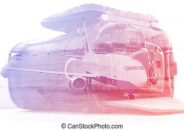 doppelgänger, exposure:, tragenden fall, für, der, fotoapperat, und, ein, aircraft., geschaeftswelt, und, reise, begriff