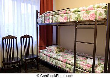 doppelgänger, hotelzimmer, bett