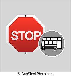 doppelgänger, stopschild, decker, design, bus, straße